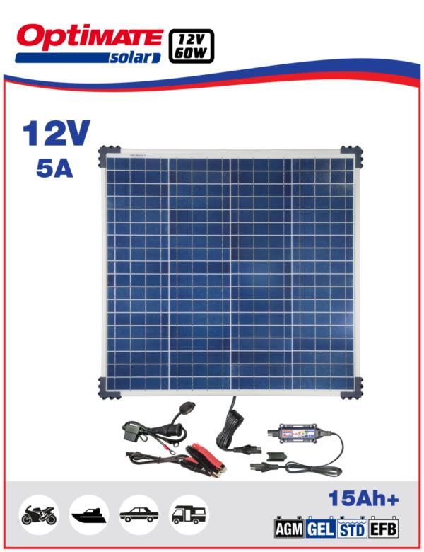 Солнечное зарядное устройство аккмулятора Optimate Solar 60W